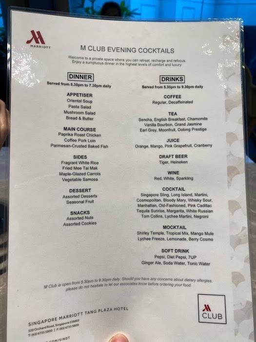 M club menu