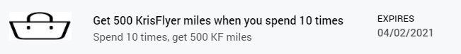 Krisflyer miles promotion